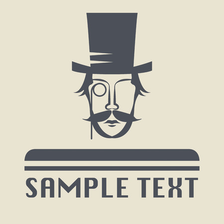 Hat and mustache icon or sign Vector