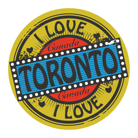 Grunge color stamp with text I Love Toronto inside Vector