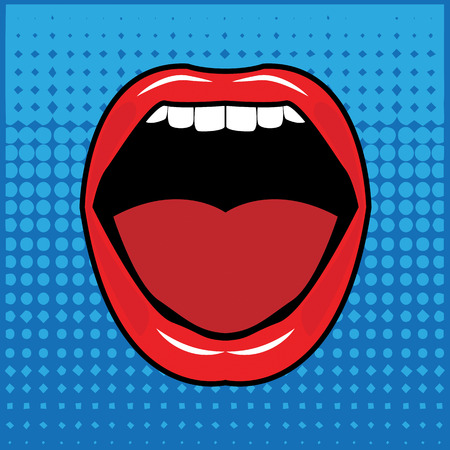 Open red lips with teeth abstract Vector