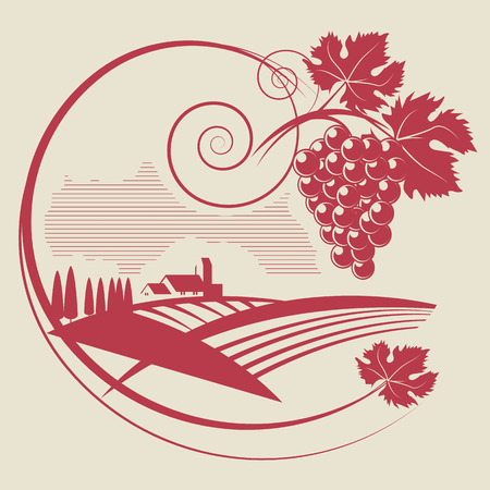 The grape and wineyard silhouette Vector