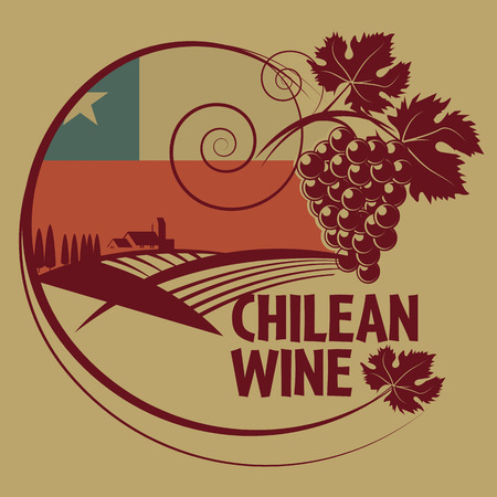 chilean flag: Grunge rubber stamp or label with words Chilean Wine