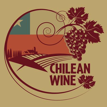 bandera chilena: Grunge sello de goma o una etiqueta con las palabras de Vinos de Chile