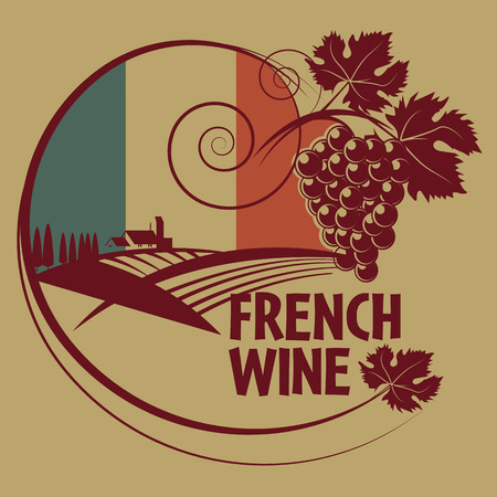 flag french icon: Grunge rubber stamp or label with words French Wine
