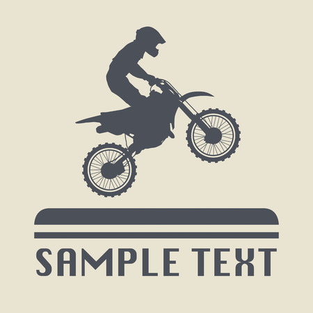dirt bike: Motocross icon or sign Illustration