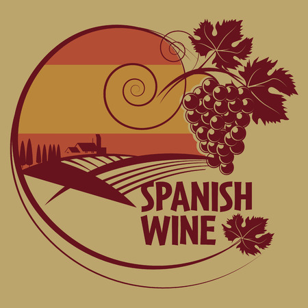 spanish food: Grunge rubber stamp or label with words Spanish Wine