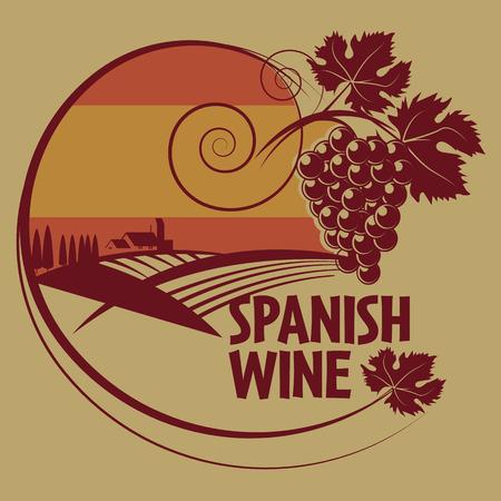 Grunge stempel of label met woorden Spaanse wijn