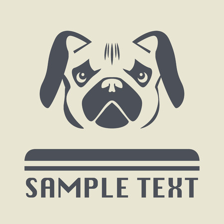 wrinkled face: Pug dog icon or sign