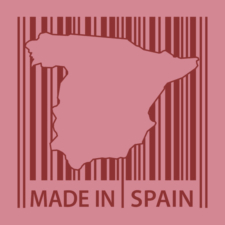 made in spain: Stamp or label with bar code and text Made in Spain