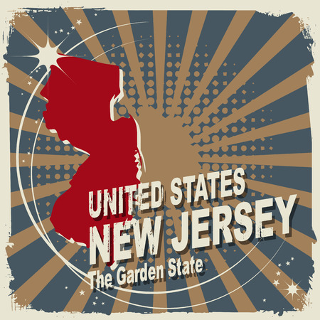 jersey: Abstract label with name and map of New Jersey Illustration