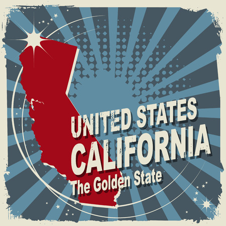 Abstract label with name and map of California Vector