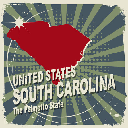 Abstract label with name and map of South Carolina Vector