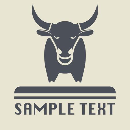 állat fej: Bull ikon vagy jele Illusztráció