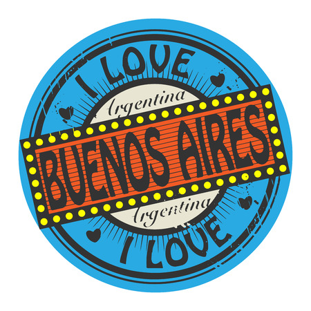 buenos aires: Grunge color stamp with text I Love Buenos Aires inside Illustration