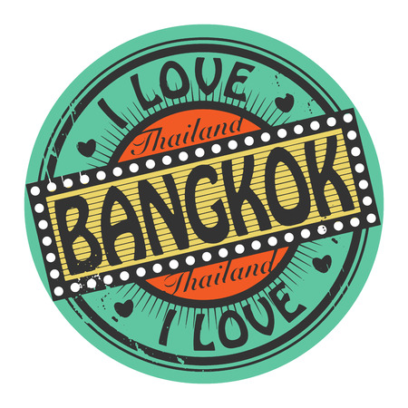 Grunge color stamp with text I Love Bangkok inside Vector