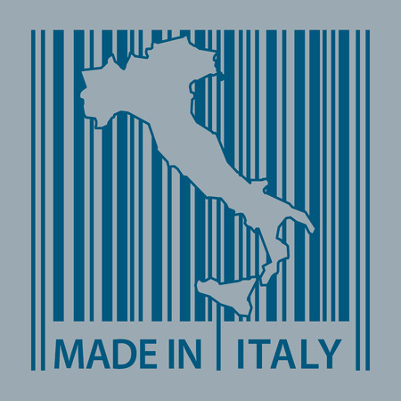made in italy: Stamp or label with bar code and text Made in Italy