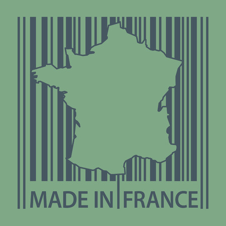 france stamp: Stamp or label with bar code and text Made in France