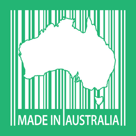 australia stamp: Stamp or label with bar code and text Made in Australia