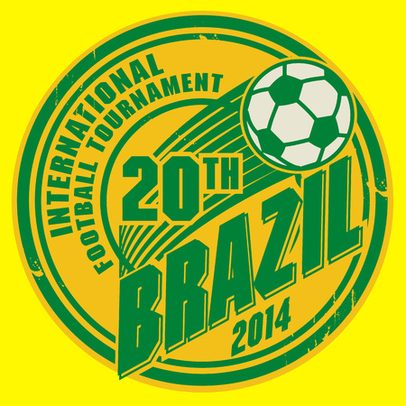 Grunge stamp with word Brazil football Vector