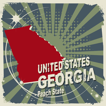 georgia flag: Abstract label with name and map of Georgia