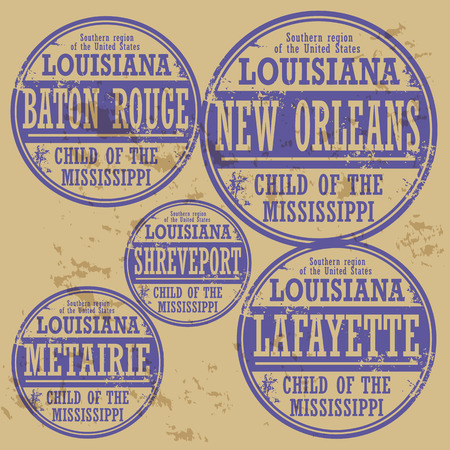 orleans: Grunge rubber stamp set with names of Louisiana cities