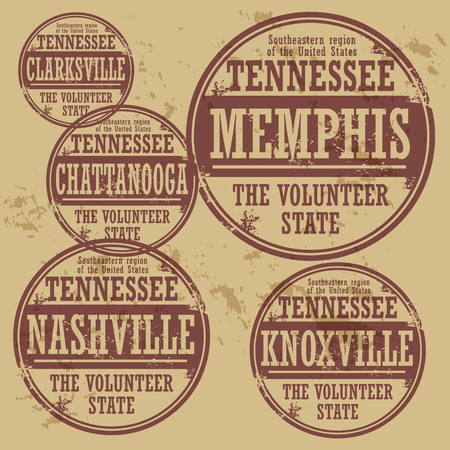 Grunge rubber stamp set with names of Tennessee cities Vector