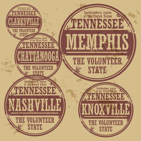 tennesse: Grunge sello de goma fijó con nombres de ciudades de Tennessee