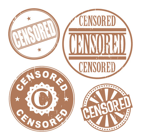 censoring: Grunge rubber stamp set with the text Censored written inside the stamp Illustration