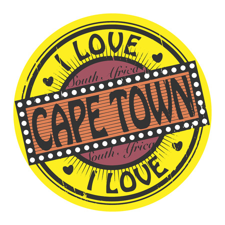 cape town: Grunge color stamp with text I Love Cape Town inside