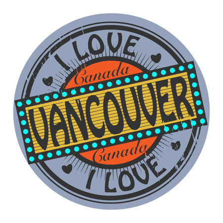 Grunge color stamp with text I Love Vancouver inside Vector