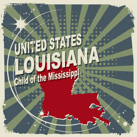 louisiana flag: Abstract label with name and map of Louisiana