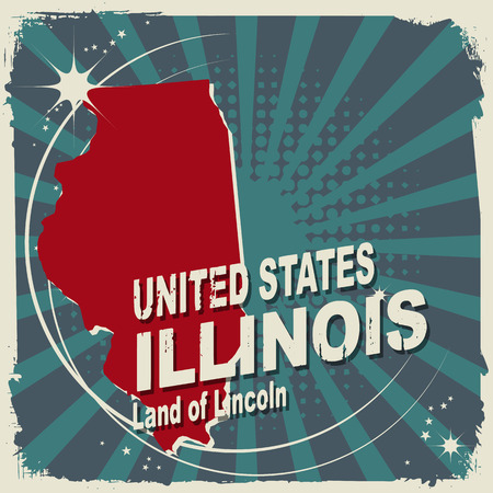Abstract label with name and map of Illinois Vector