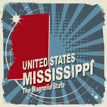 mississippi: Abstract label with name and map of Mississippi