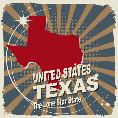 Abstract label with name and map of Texas Vector