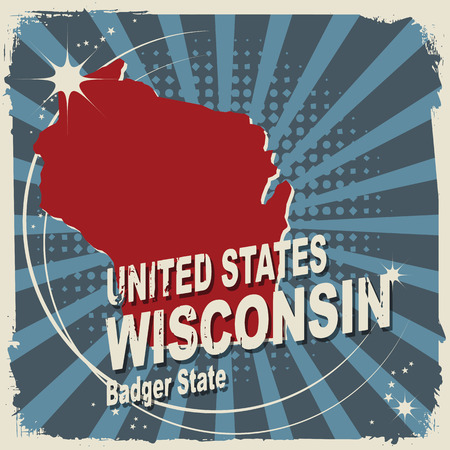 wisconsin flag: Abstract label with name and map of Wisconsin Illustration