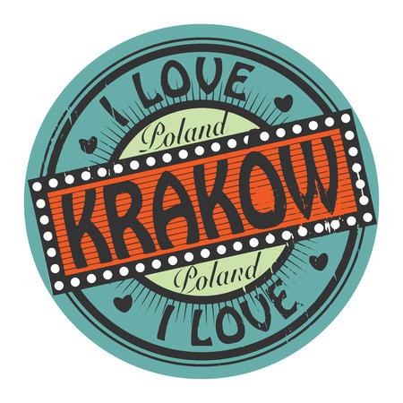krakow: Grunge color stamp with text I Love Krakow inside