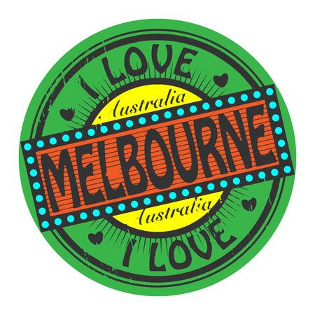melbourne: Grunge color stamp with text I Love Melbourne inside Illustration
