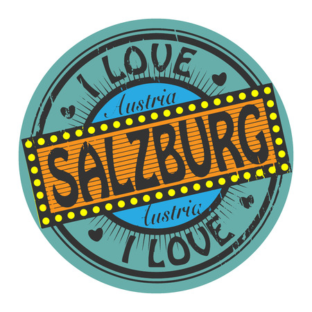 Grunge color stamp with text I Love Salzburg inside Vector