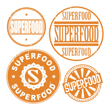 Grunge rubber stamp set with the text Super food written inside the stamp