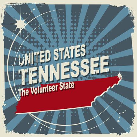 tennesse: Resumen etiqueta con el nombre y el mapa de Tennessee Vectores