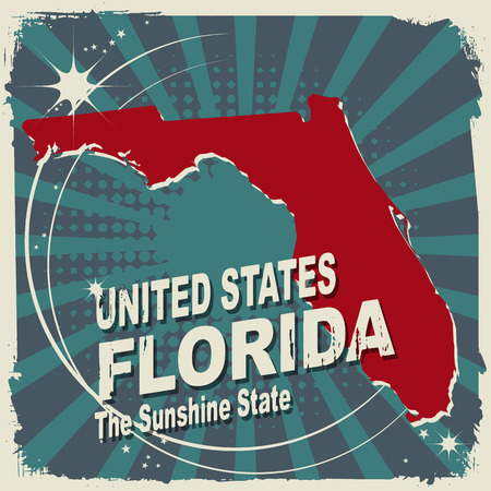 Abstract label with name and map of Florida Vector