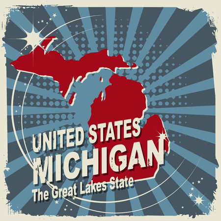 Abstract label with name and map of Michigan Vector