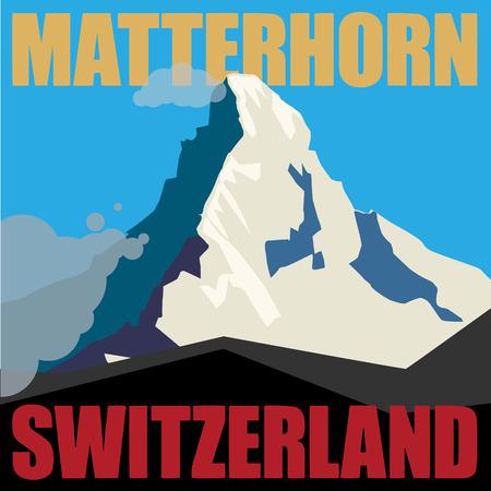 Mount Matterhorn Monte Cervino - piek in de Alpen, berg achtergrond avontuur Vector Illustratie