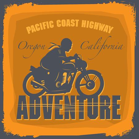 Vintage Motorcycle adventure label Vector