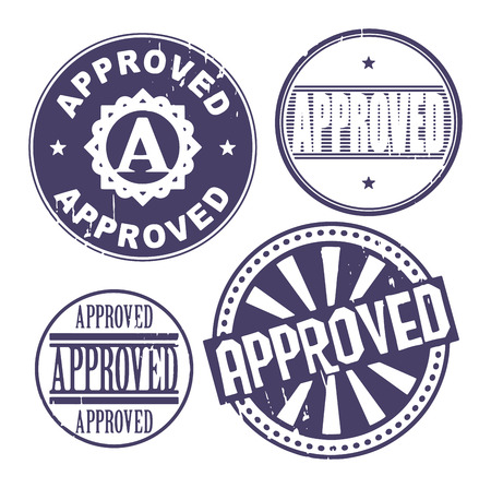 Grunge rubber stamp set with the text Approved written inside the stamp Stock Vector - 25320763