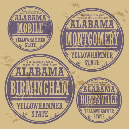 alabama: Grunge rubber stamp set with names of Alabama cities Illustration