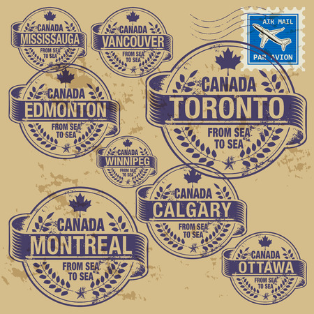 Grunge rubber stamp set with names of Canada cities Vector