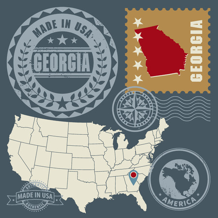 georgia flag: Abstract post stamps set with name and map of Georgia, USA Illustration