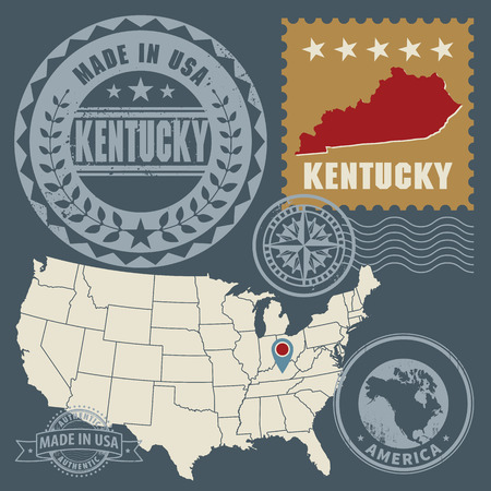 Abstract post stamps set with name and map of Kentucky, USA Vector