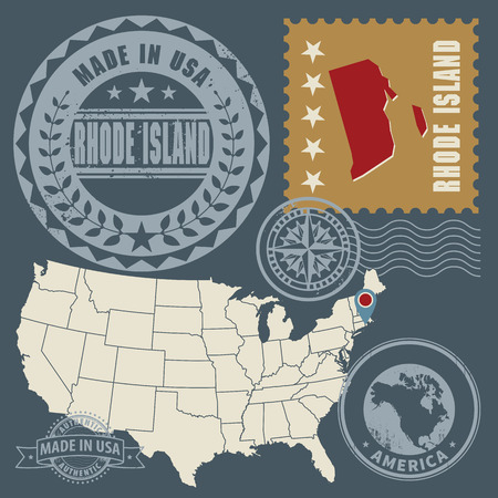 Abstract post stamps set with name and map of Rhode Island, USA Vector