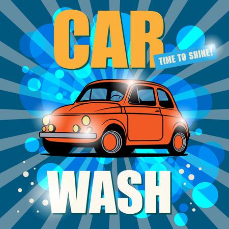 автомобили: Ретро Зарегистрируйтесь автомойки Иллюстрация